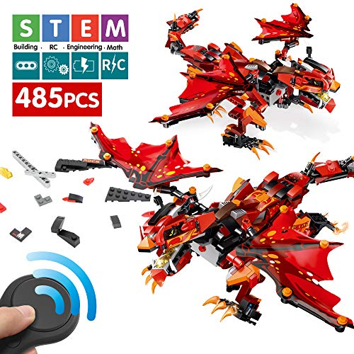 Mould King Remote Control Dinosaur, Intelligent DIY Building Blocks Assembly Electronic Dinosaur Robot Walking Dinosaur stem Toys for Boys Girls Age of 6,7,8,9-14 Year Old (Red)
