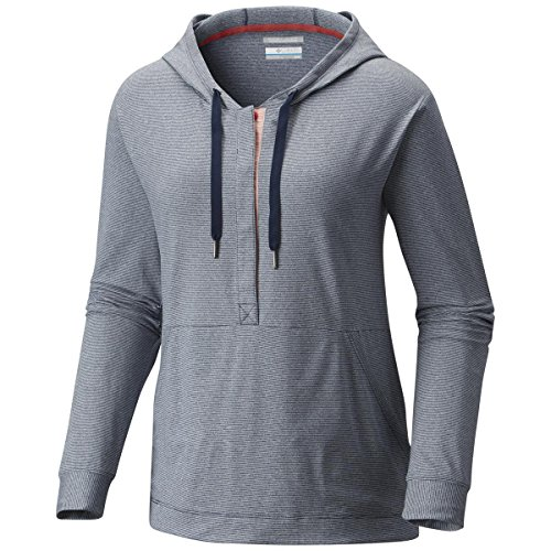 Columbia Reel Relaxed Hoodie, Collegiate Navy, Sunset Red, X-Large