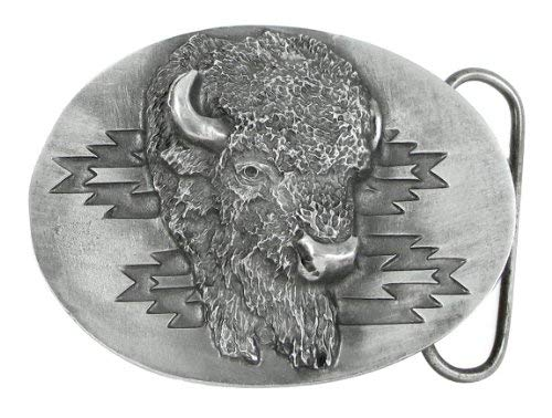 Pewter Belt Buckle - Southwest Buffalo Head - -