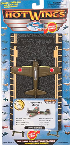 Hot Wings Japanese Zero with Connectible Runway Die Cast Model Airplane, (Hot Wings Diecast Toy Airplane)