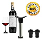 Vacuum Wine Saver with 2 Vacuum Bottle Stoppers,Black- Stainless Steel,Food Grade Material,Keep Wine Fresh and Flavorful for 14 Days