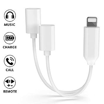 Adaptador de Auriculares para iPhone X Adaptador Jack de Audio Adaptador de Carga Cargador de automóvil Convertidor de Cable de Doble Compatible con ...