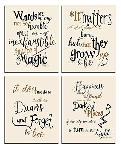 Harry Potter Art - Quotes and Sayings Art Prints | Set of Four Photos 8x10 Unframed | Unique Inspirational Harry Potter Wall Art - Great Gift for Harry Potter Fans