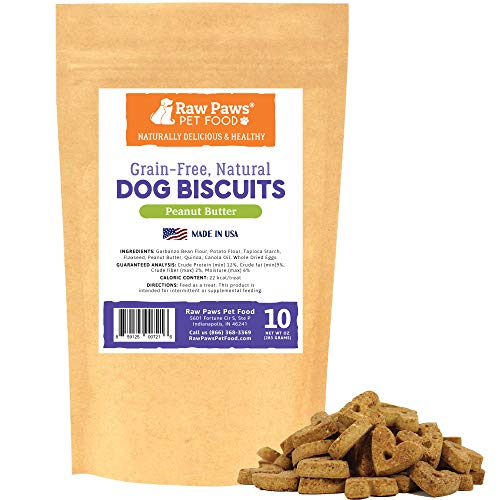 (Raw Paws Peanut Butter Dog Biscuits, 10-oz - Crunchy Grain Free Dog Treats Made in USA Only - Corn & Soy Free PB Dog Treats - Heart Shaped Dog Treats & Puppy Biscuits - Peanut Butter Snacks for Dogs )