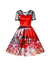 FarJing Women Dress Women Christmas Lace Printing Vintage Gown Party Dress