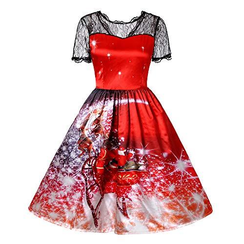 (GREFER Women Short Sleeve A Line Dress Retro Lace Vintage Dress Pumpkin Swing Dress Halloween Christmas Costumes (XXL, A-Red))