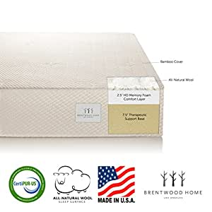 "Brentwood 10"" HD Memory Foam Mattress - 100% Made in USA - CertiPur Foam - 25-Year Warranty, All-Natural Wool Sleep Surface and Bamboo Cover, Queen Size 60 x 80 x 10"