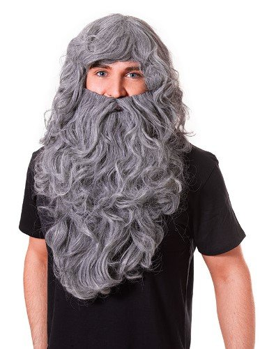 [Wizard / Prehistoric Old Man Budget Fancy Dress Wig & Beard - Grey] (Old Wigs)