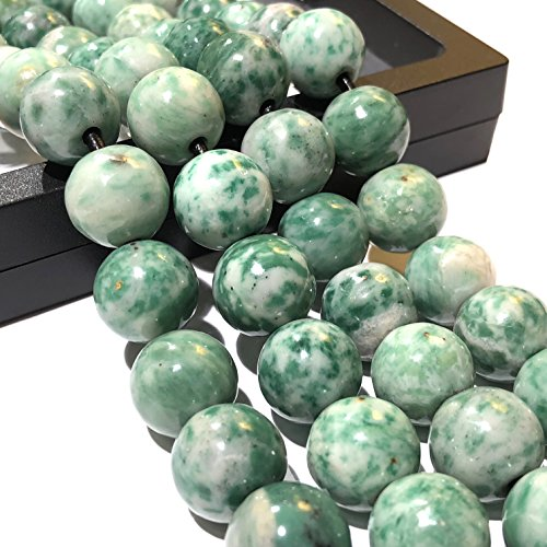 [ABCgems] 2.5mm Large Hole Brazilian Tree Agate 14mm Smooth Round Beads. Approx 8 Inches