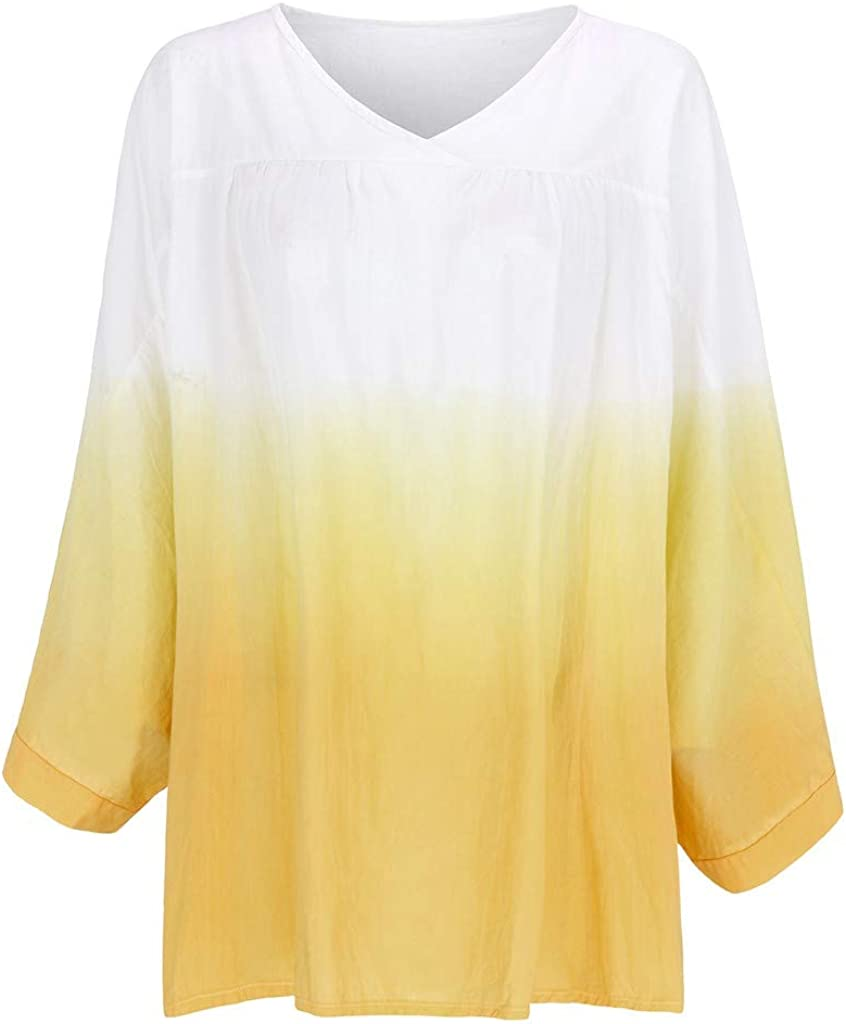 Meikosks Womens Tie Dyeing T Shirt Plus Size Tops Long Sleeve V-Neck Blouses Casual Loose Tunic