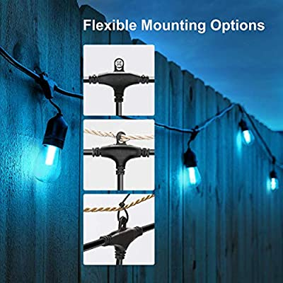 VAVOFO Warm White & Color Changing Cafe String Lights, Dimmable LED Heavy Duty Hanging Patio String Lights Outdoor Indoor, Commercial Grade, Waterproof, Wireless, UL Listed ...