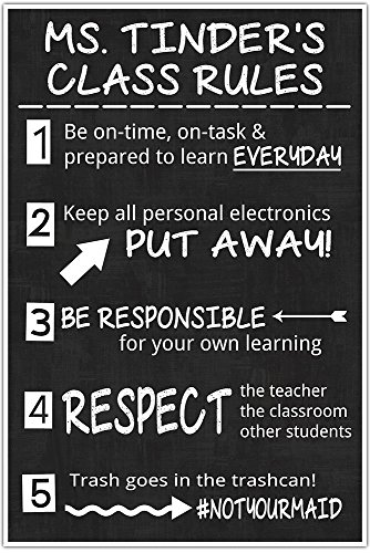 Personalized Junior High MIddle School Classroom Chalkboard Poster #notyourmaid