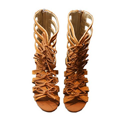 Vokamara Girls Fashion Summer Bow Gladiator Sandals Summer Dress Flats Brown 8.5M -