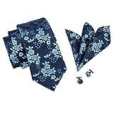 CAOFENVOO Orange Necktie Silk Tie Mens Formal Tie Set with Pocket Squre Cufflinks Wedding Tie