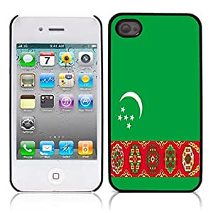 The national flag of Turkmenistan Hard Plastic and Aluminum Back Case for Apple iphone 4 4S