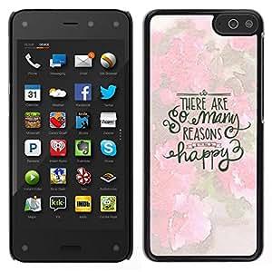 EJOY---Cubierta de la caja de protección para la piel dura ** Amazon Fire Phone ** --Muchas Razones feliz texto Rosa Blanca Inspiring