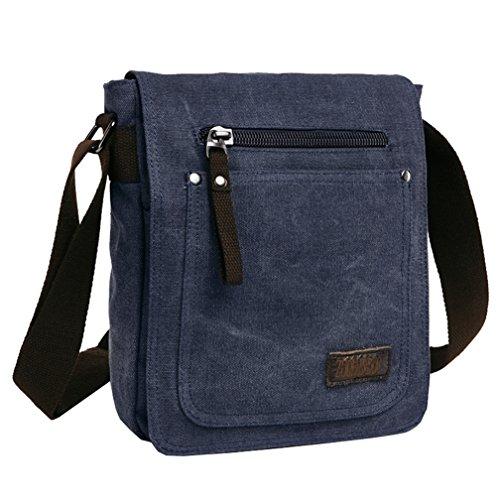 Bolso de lona, de Super Modern; diseño moderno de bolso de mensajero, con correa de hombro, fina, para hombres y mujeres, hombre, negro azul