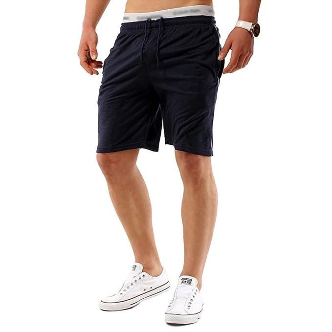 Yying Hombre Verano Pantalones Cortos - Moda Cintura Media Slim Fit Pantalón de Chándal Stretch Casuales Pantalones para Jogging Fitness Deportivos: ...