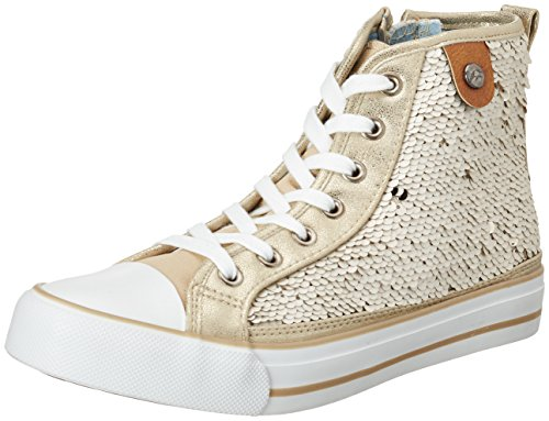 Fritzi aus Preußen Women's Hanna Toe Cap Sneaker Sequin Hi-Top Trainers, White Off-white (Offwhite 25)