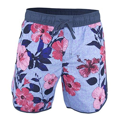 Matereek Men's Softly Distressed Floral Hibiscus Swim Trunks Sky Blue L ()