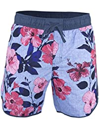 Matereek Men's Softly Distressed Floral Hibiscus Swim Trunks