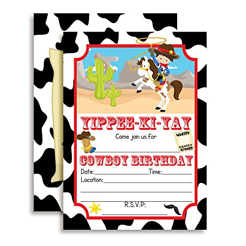 Cowboy Birthday Party Invitations for Boys, 20 5
