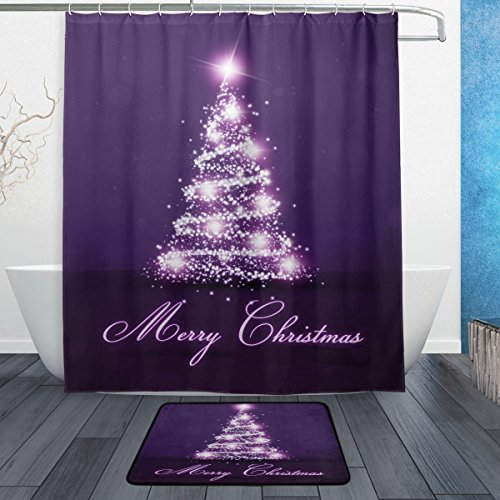 ALAZA-Set-of-2-Christmas-Holiday-60-X-72-Inches-Shower-Curtain-and-Mat-Set-Purple-Tree-Waterproof-Fabric-Bathroom-Curtain-and-Rug-Set-with-Hooks