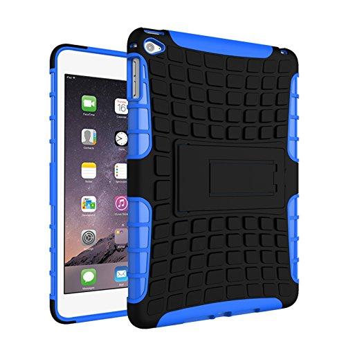 iPad Mini 4 Funda,COOLKE Duro resistente Choque Heavy Duty Case Hybrid Outdoor Cover case Bumper protección Funda Para Apple iPad Mini 4 - naranja Azul