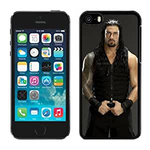 Customized Apple iPhone 5C Case Wwe Superstars Collection Wwe 2k15 Roman Reigns 02 in Black Phone Case For iPhone 5C Case