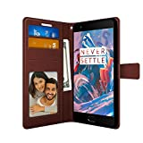 FOSO(TM) FOSO-PUWCOP3-BROWN OnePlus 3 High Quality PU Leather Magnetic Flip Cover Wallet Case [ One Plus 3 ] (Brown)