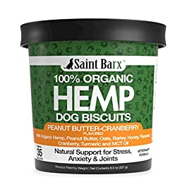 100% Organic hemp Dog Biscuits – Made in USA – Aids Stress, Anxiety, Joints, Hips, Barking, Separation and More – Turmeric + Cranberry + MCT Oil – 35 Count Peanut Butter Treats