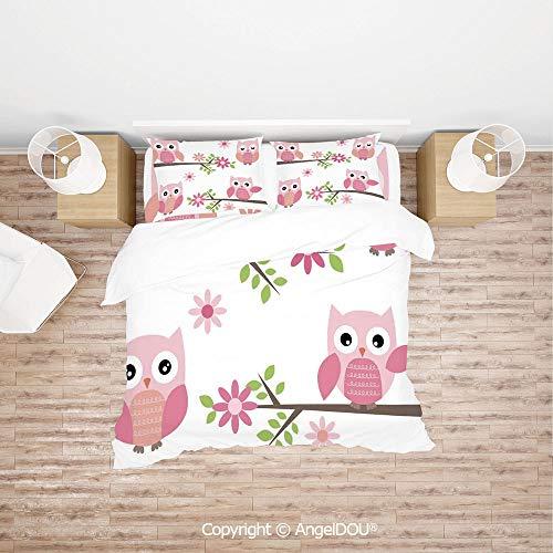 PUTIEN Modern Cotton Bedding 4 Pieces Set Duvet Cover Set,Cute Baby Owls Waving in The Floral Tree Springtime Artful Girly Design Print,with Hidden Zipper Closure.