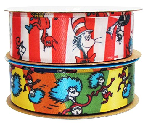 HipGirl Grosgrain Ribbon Collection Value Pack (Offray Dr. Seuss Craft Ribbon Combo, 2 Rolls of 7/8-Inch x 9-Feet, Thing one, Thing Two and Cat in the Hat, for Hair Bows, (The Cat In The Hat Costume Pattern)