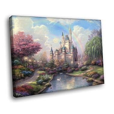 H5J1860 Cinderella Castle Disney Painting Art 20x16 FRAMED CANVAS PRINT