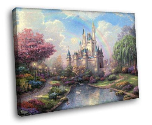 H5 Cinderella Castle Disney Painting Art Framed Canvas Print