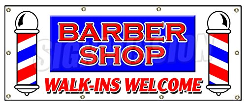 WALK-INS WELCOME BANNER SIGN men women coloring manicure (Female Clear Vinyl)