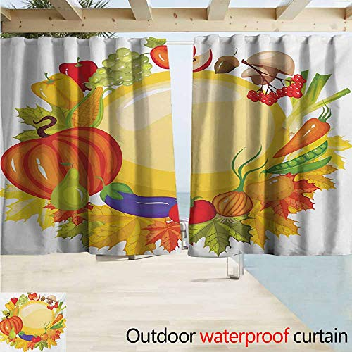 Hobnail Bell - Harvest Outdoor Door Curtain Garden Products from Whole Year Mushroom Bell Peppers Carrot Leek Healthy Life Curtains for Living Room W72 xL72 Multicolor