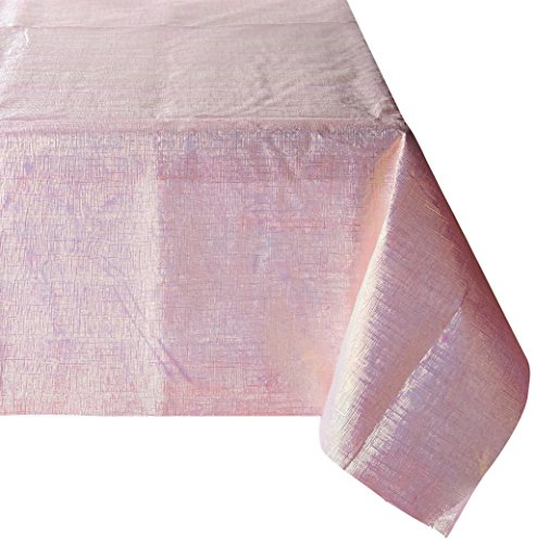 "Amscan (773500.06) Dazzler Opalescent Table Cover Pink Plastic 54"" x 108"" Childrens Party Tablecovers (6 Piece)"