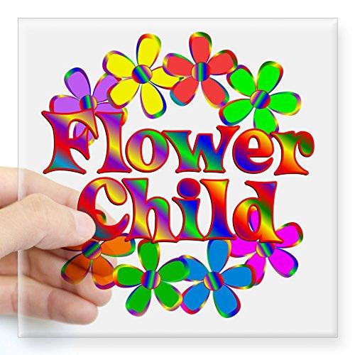 (CafePress Retro Flower Child Square Sticker 3