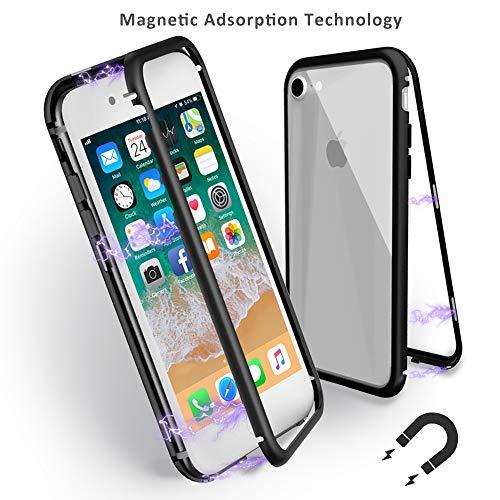 Mangotek iPhone 8/7 Case, Magnetic Absorption Technology, Ultra Slim Thin Metal Frame Cover, Full Protective Aluminum Alloy Tempered Glass Case Built-in Magnet Flip Support Wireless Charging by Mangotek
