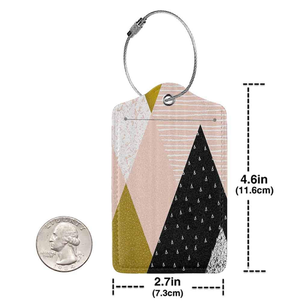 Waterproof luggage tag Geometric Abstract Composition Hand Drawn Vintage Texture Dots Lines Triangles Modern Art Soft to the touch Multicolor W2.7 x L4.6