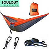 Cheap SOULOUT Double Camping Hammock Festival Gifts- Lightweight Portable Nylon Parachute Hammocks with TREE Straps for Backpacking, Hiking, Travel, Beach, Fishing, Yard.