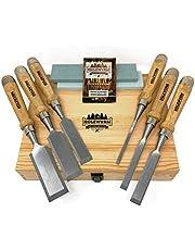 HOLZWURM Professionele beitelset voor hout, 6-delig Stemmijzerset met slijpsteen, handleiding voor het slijpen en houten koffer.