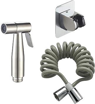 Handheld Bidet Sprayer For Toilet Diaper 304 Stainless Steel Sprayer Shattaf Set Includes 2m Spring Hose And Easy Sticker Bracket Bidet Hose And Bracket Amazon Com