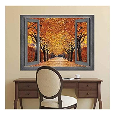 it is good, Stunning Picture, Open Window Creative Wall Decor A Row of Gorgeous Orange Leafed Trees Wall Mural