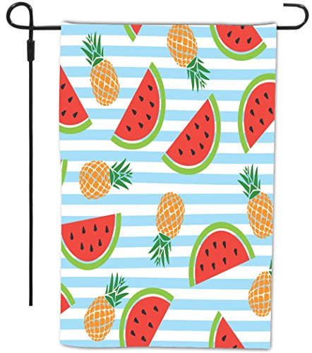 Rikki Knight Watermelon and Pineapples Seamless Design Design Garden Flag with Sturdy black wrought iron flag pole (Proudly Printed in the USA) - Wrought Iron Pineapple