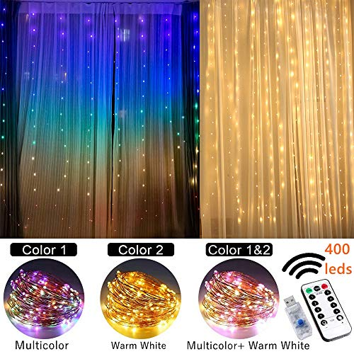 Fairy Lights Led String Lights twinkle color changing lighted curtains colored Indoor window light up decorations for bedroom apartment dorm room wall decor wedding party backdrop rainbow unicorn