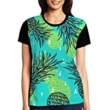 Green Pineapple Women's Raglan T-Shirt Short Sleeve Sport Baseball Tees Tops Undershirts