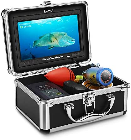 Eyoyo Underwater Fishing Camera Video DVR Recording Fish Finder 7 Inch LCD Monitor HD 1000 TVL Waterproof Camera Adjustable Infrared White Light for Ice Lake Sea Boat Kayak Fishing 30m 98ft Cable