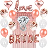 Rose Gold Bachelorette Party Decorations: Bridal Shower Complete Hen Night Getting Married Kit BRIDE Foil Balloon, 1 Love Silver Mylar Diamond Ring, 2 Heart, 12 Latex White Confetti, Metallic Tinsel Aluminum Fringe Curtain, Nuptial Wedding Supplies